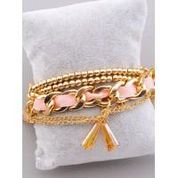 Браслет  с цепочками и розовой лентой под золотой 031000