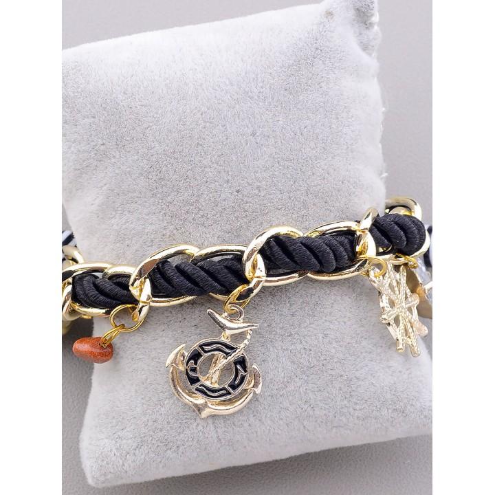 Брасле шнурок черный с золотой цепочкой и подвесками FJ 031731