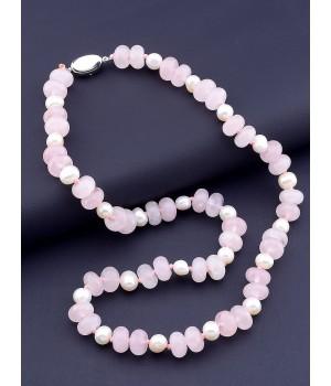Бусы Sunstones Розовый кварц,Жемчуг 50 см. 1087327